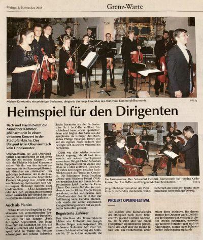 Konzert der Kammerphilharmonie München im AGV in Oberviechtach 20181102 - Der Neue Tag, Bild und Text: Georg Lang