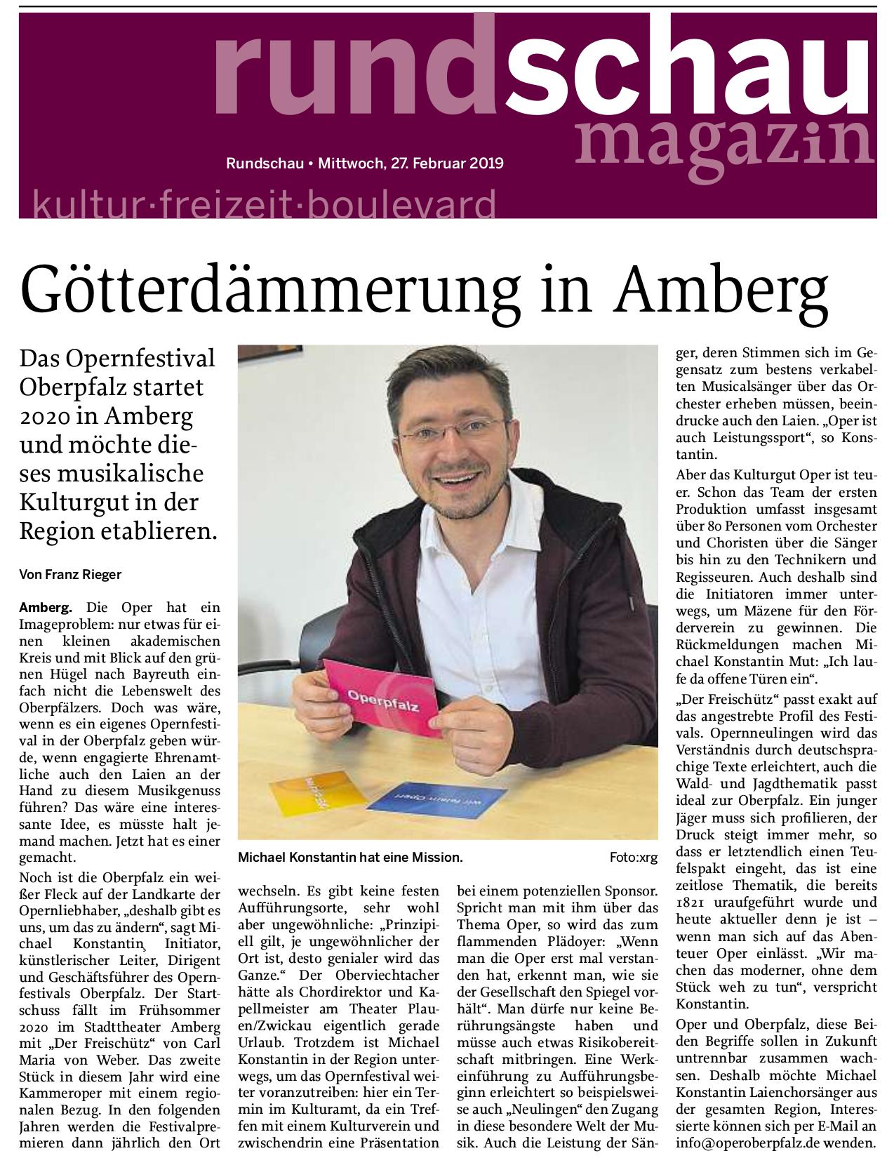 Opernfestival Oberpfalz, Interview im Rundschau Magazin zur Saison 2020 in Amberg