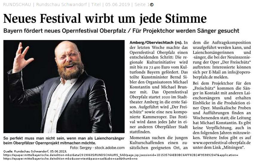 Opernfestival Oberpfalz sucht Chorsänger