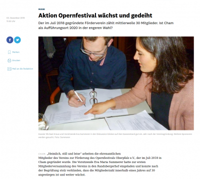 Verein zur Förderung des Opernfestivals Oberpfalz - Jahreshauptversammlung 2018 - Mittelbayerische Zeitung vom 3. Dezember 2019