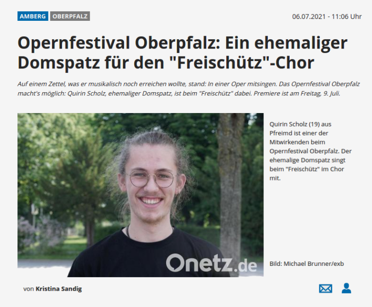 Onetz_Opernfestival Oberpfalz: Ein ehemaliger Domspatz für den Freischütz-Chor_20210706